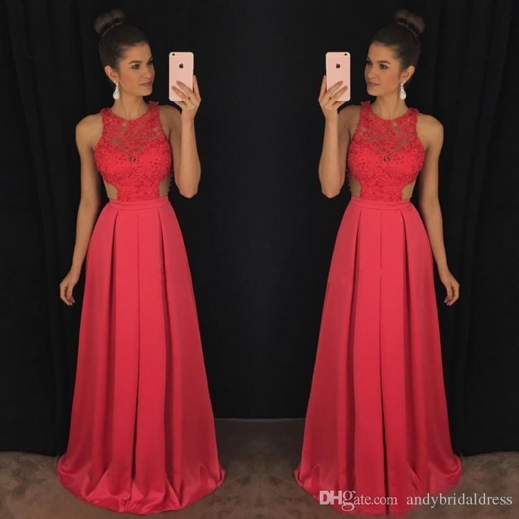 Simple Design Lace Bodice Sleeveless Fushia Fast Shipping Prom Dresses A Line Long Sexy Cheap Evening Gowns Party Dress