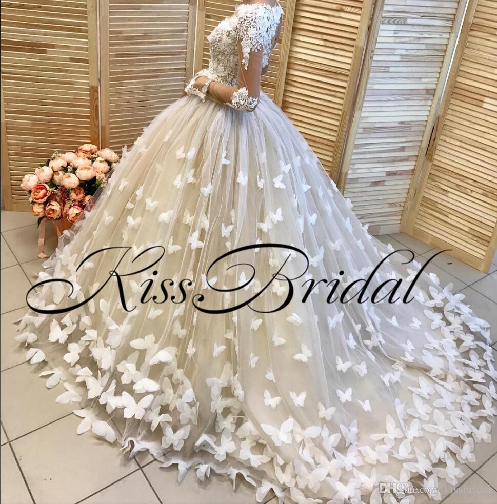 3D Schmetterling Floral Brautkleider Vintage Lace Long Sleeves Brautkleider Puffy Ballkleid Dubai Arabisch Kleider für die Hochzeit