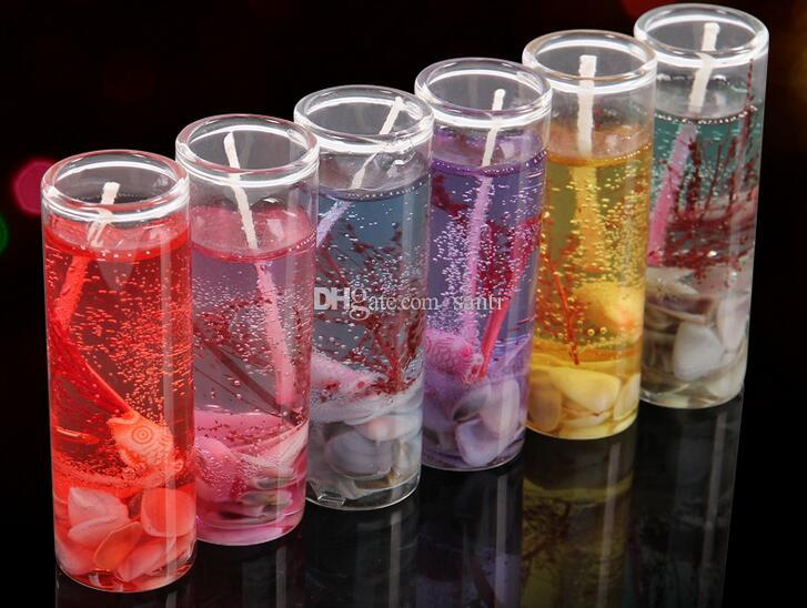 glass bottles ocean gel wax candles wedding banquet candle celebration pink blue candle decorate birthday candles 6 colors - Decorate Online