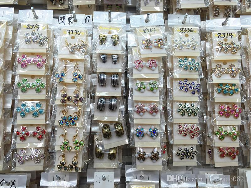 Top Quantity Fashion Exquisite assorted Crystal Jewelry Ear Stud Earrings For Women Best Gift Wholesale Pairs