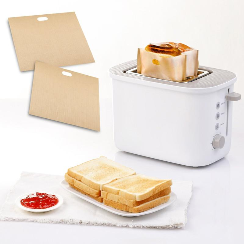 United 10pcs Toaster Bags For Grilled Cheese Sandwiches Made Easy Reusable Non-stick Baked Toast Bread Bags Baking Mats & Liners