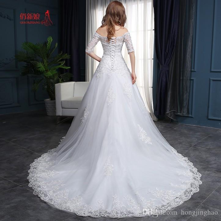 2019 dentelle blanche une ligne robes de mariage hors épaule applique balayage train paillettes dos nu robes de soirée de mariée livraison gratuite