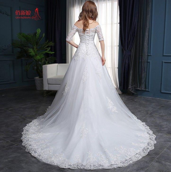 2019 белые кружева линии свадебных платьев с плеча аппликация развертки поезд блестками спинки свадебные платья бесплатная доставка