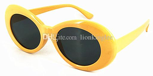 DHLEMS SHIPPING Classic Vintage White Oval Sunglasses Retro Clout Goggles NIRVANA Kurt Cobain Glasses Men Women Mirrored UV400 Glasses 88570