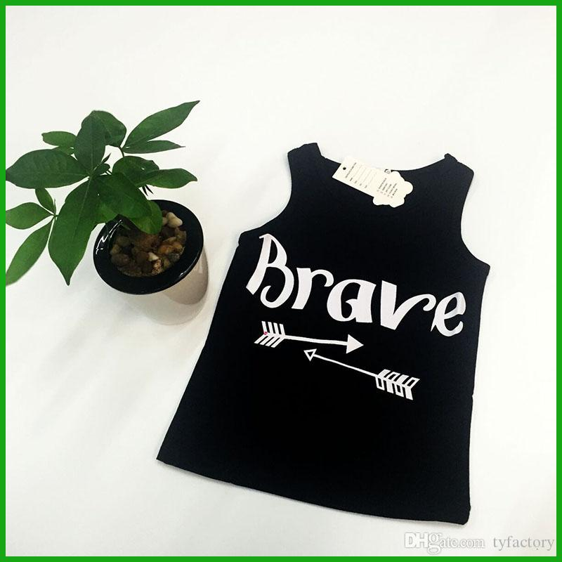 sleeveless girls tops vest brave letters print fashion children black t-shirts summer kids casual outfits fast