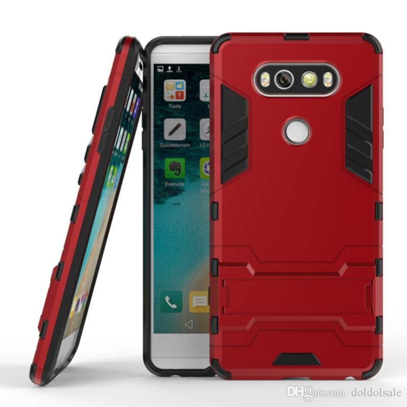 big sale 37372 0506a 50pcs 2 in 1 Hybrid Armor Mobile Phone Back Cover for LG V20 K5 K7 K10 G5  G4 PC+TPU Protective Shell Anti-knock Case with Stand