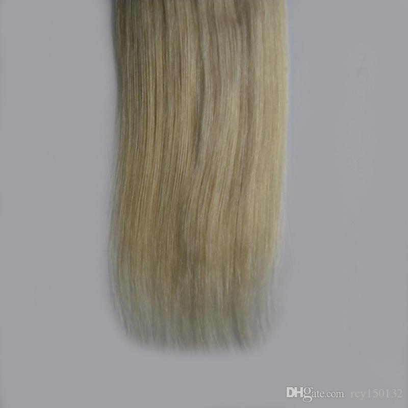 T8/613 blonde two tone ombre hair extensions 100g Straight tape in human hair extensions
