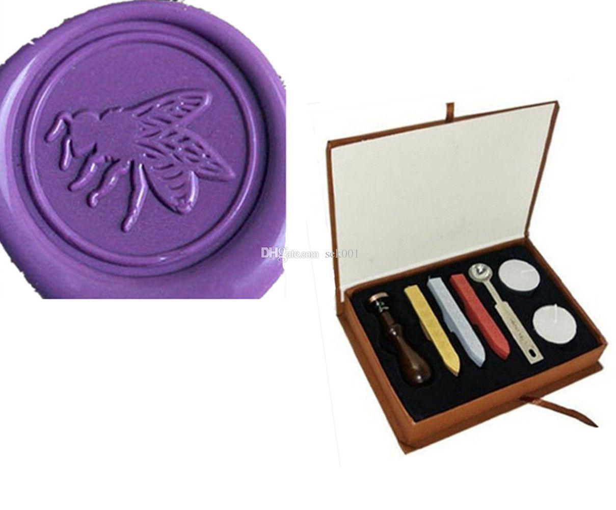 Vintage Big Bee Wax Seal Stamp Kit Gift Box Set Wedding Invitation ...