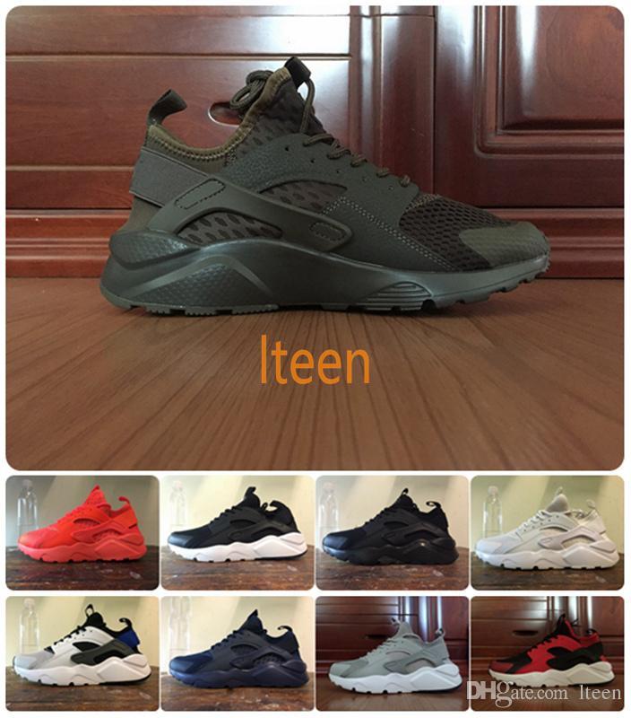 97624013bf11 2018 Huarache 4 Ultra Black White Olive Huraches Running Shoes for Women    Men Lightweight Breathable Sneakers Hurache IV Size Eur 36-46 Huarache for  Women ...