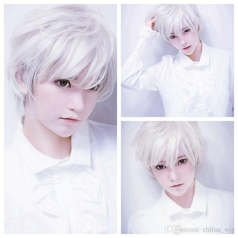Z&F 30CM Men Short Straight Silver Pure White Natural Wigs HighTempreture Resistant Synthetic Hair Fashion Handsome Man Wigs