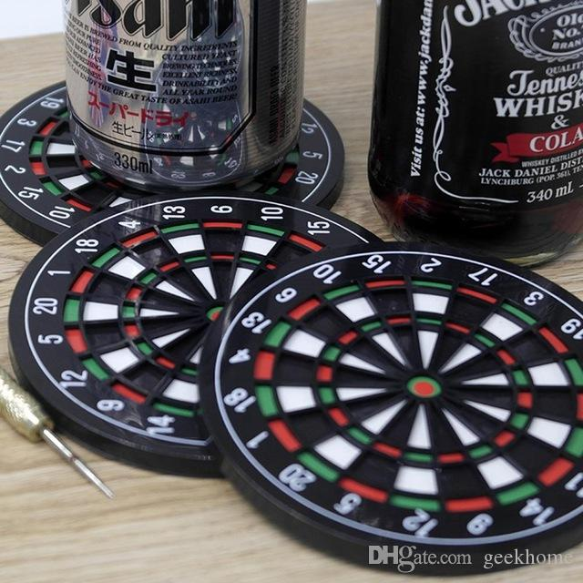 Wholesale- 4pcs/set Kitchen Utensils Dart Board Styled Plastic & Rubber Coaster Mini Dart Board Cup Coasters sottobicchieri kitchen table