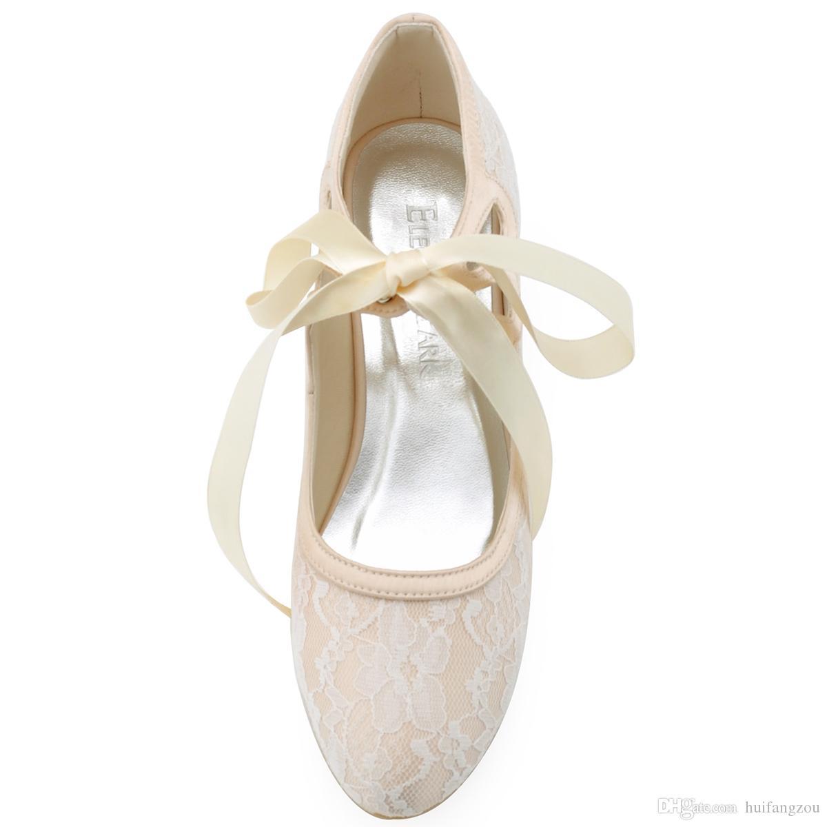 Kadın Ayakkabıları Saten Üst Orta Biriktirme Topuk Kapalı Toe Biriktirme Topuk Şerit Kravat Düğün Gelin Ayakkabıları Ile Pompalar