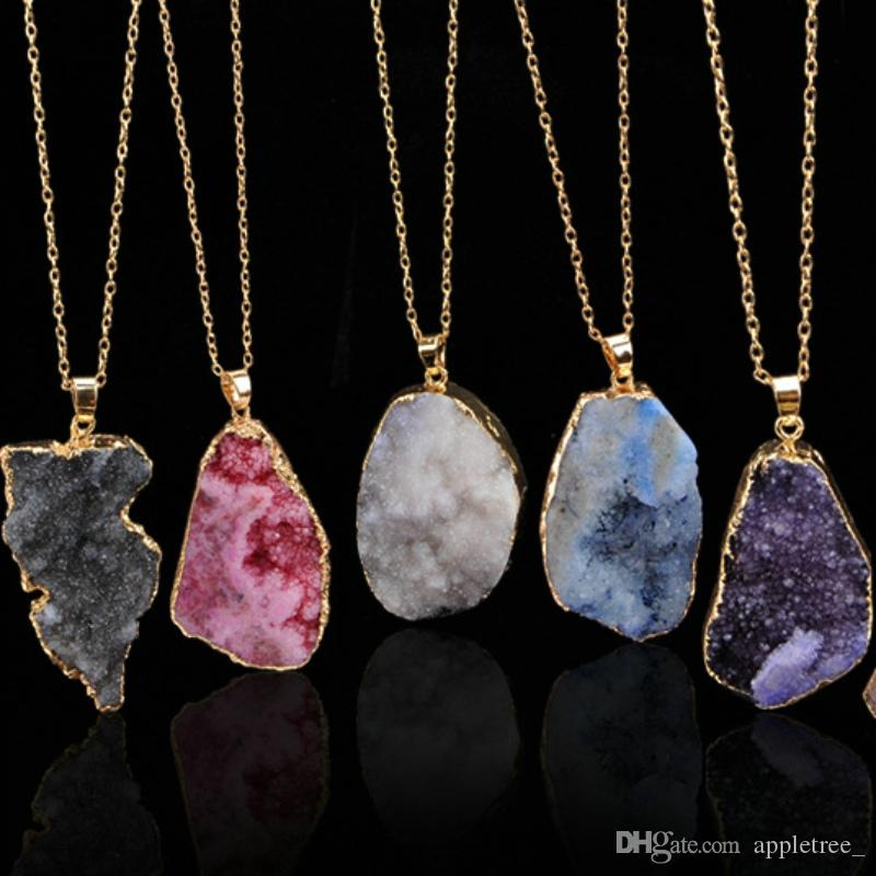 Wholesale natural stone jewelry pendants necklaces natural stones wholesale natural stone jewelry pendants necklaces natural stones quartz crystal gemstone pendant necklace chains for women men fashion mens jewellry choker aloadofball Image collections