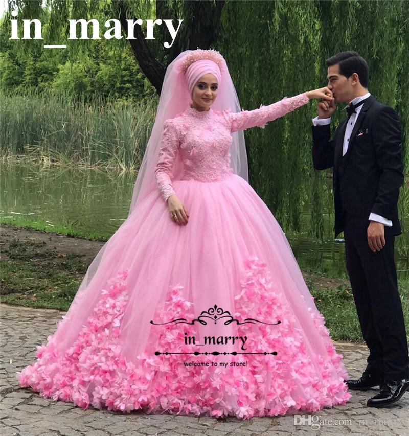 Compre Princesa Rosa 3d Floral Vestidos De Novia Islámicos 2018 ...