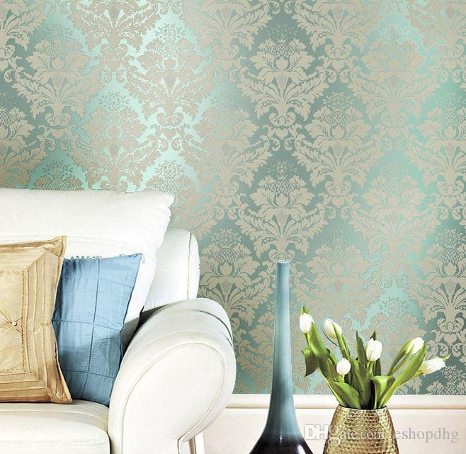 Non Woven Classic Metallic Flock Damask Wallpaper Glitter Green Background Wall Wallcovering Living Room Bedroom Actress Wallpapers Aishwarya Rai