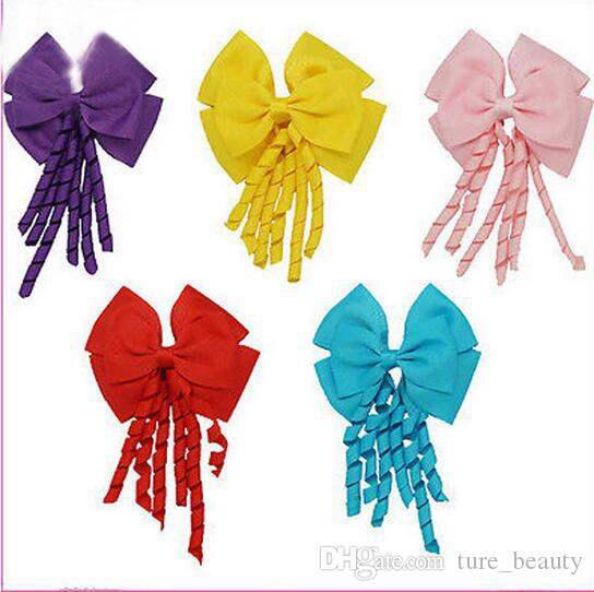 ! 4inch korker streamer ribbon elastic bobble Grosgrain Ribbon Long Korker Tail Fancy Cute Hair Bow With Clip For Girls /