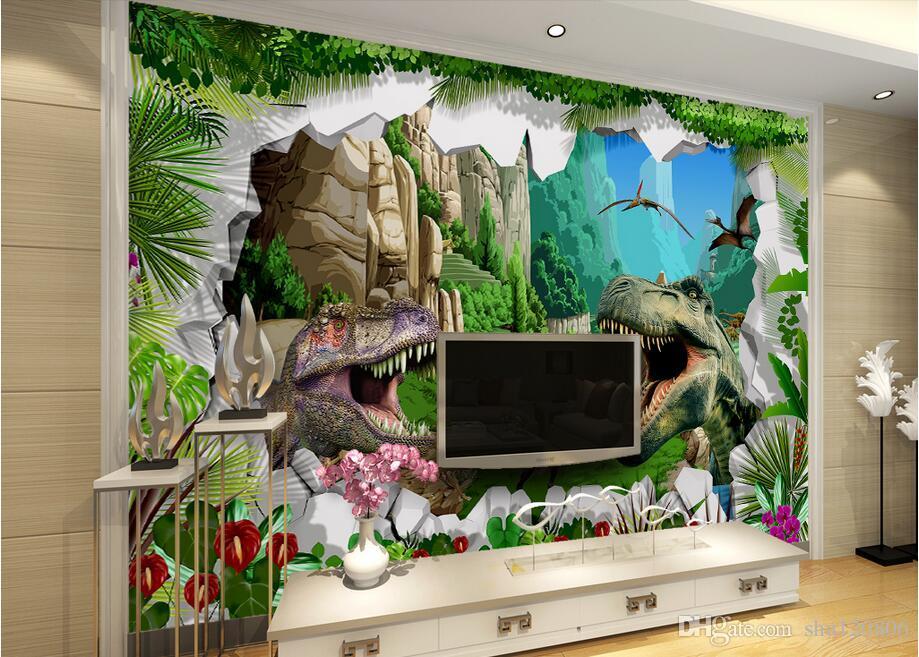 Stanza 3d wallpaer abitudine foto murale antica dinosauro era divano TV pittura pittura murale parete 3d murales carta da parati pareti 3 d