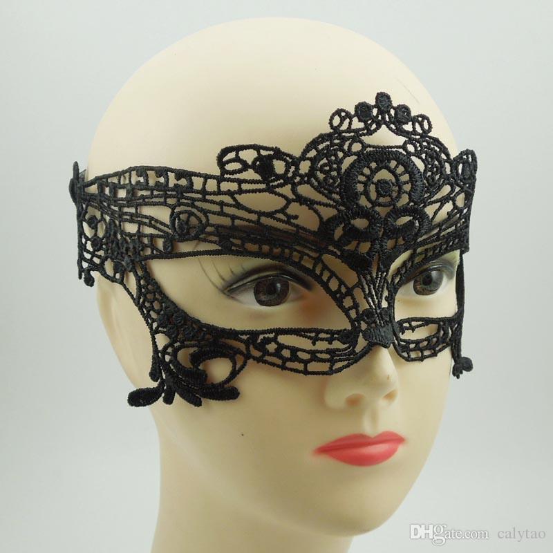 zum Verkauf Party Masken Sexy Woman schwarz Spitzenmaske Brille Nachtclub Mode Königin Ausschnitt Augenmasken Half Face Masquerade Mask