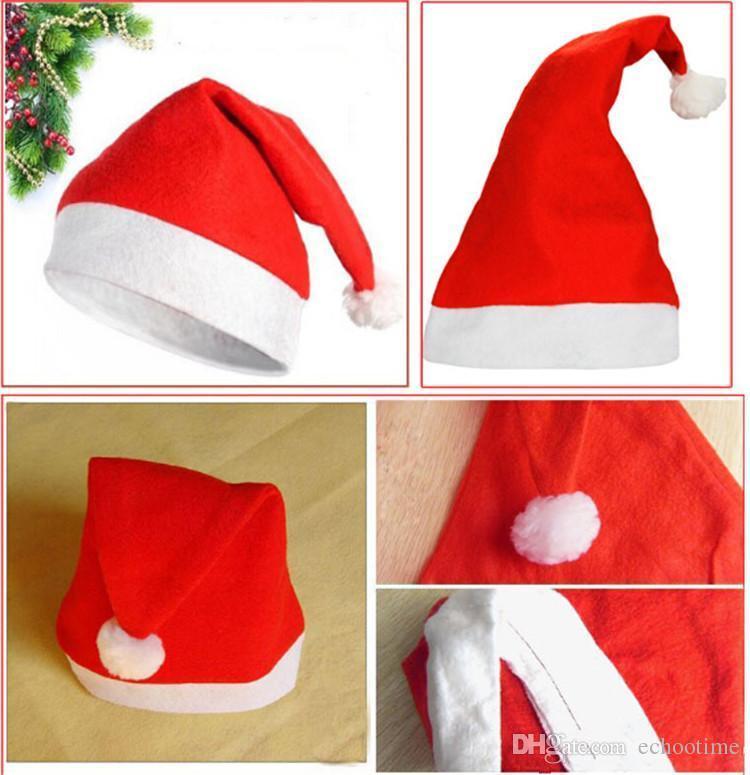 Echootime 2000 шт. Красный Санта-Клаус шляпа ультра мягкий плюшевый Рождество косплей шляпы рождественские украшения взрослых Рождественская вечеринка шляпы поставки