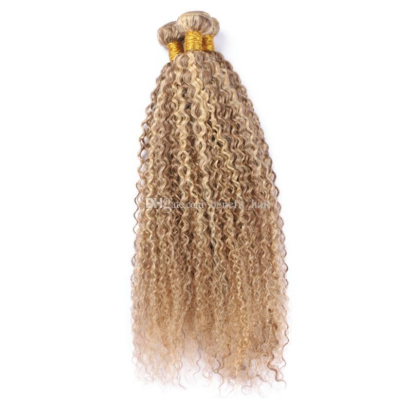 Color de la mezcla 8 613 paquetes de cabello humano Color del piano Extensiones de cabello rizado rizado Ombre Tone Hair teje la virgen brasileña 3 Bundles