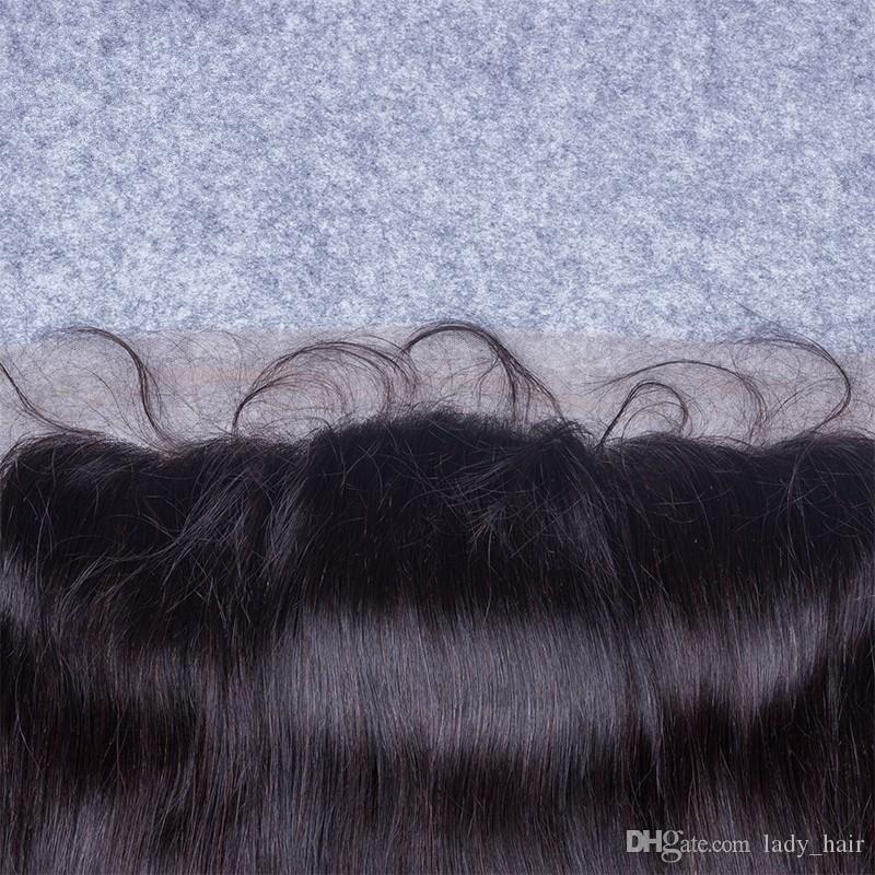 Silky Straight 4x4 Seide Basis Spitze Frontal Schließung Mit Babyhaar Reines Malaysisches Menschenhaar Seidentop Spitze Frontal Stücke