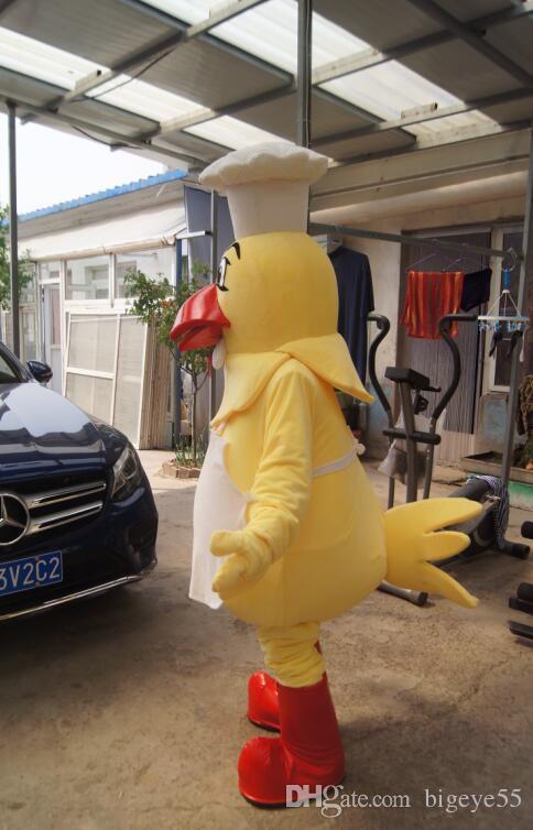 جودة عالية حقيقي صور ديلوكس الشيف الدجاج التميمة زي أنيمي ازياء الإعلان mascotte حجم الكبار المصنع مباشرة شحن مجاني