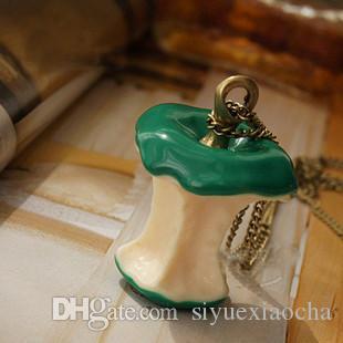 Collana di maglie, collana di maglioni, decorazione con pendente di mela verde e rossa, spedizione gratuita e alta qualità