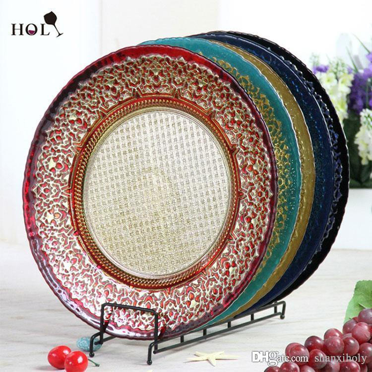 charming Cheap Glass Plates In Bulk Part - 12: Holy Made in China Wholesale Colored Cheap Small Restaurant MOQ 300 with  CIF Price Glass Charger Dishes And Plates Colored Charger Plates Wholesale  Glass ...
