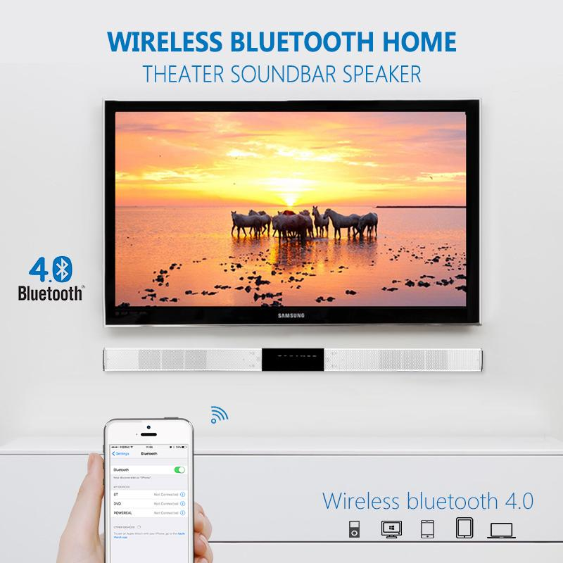 home theater wireless. slimline wireless bluetooth home theater soundbar speaker with built in subwoofer and optical aux 3d surround sound bar for tv theatre system w