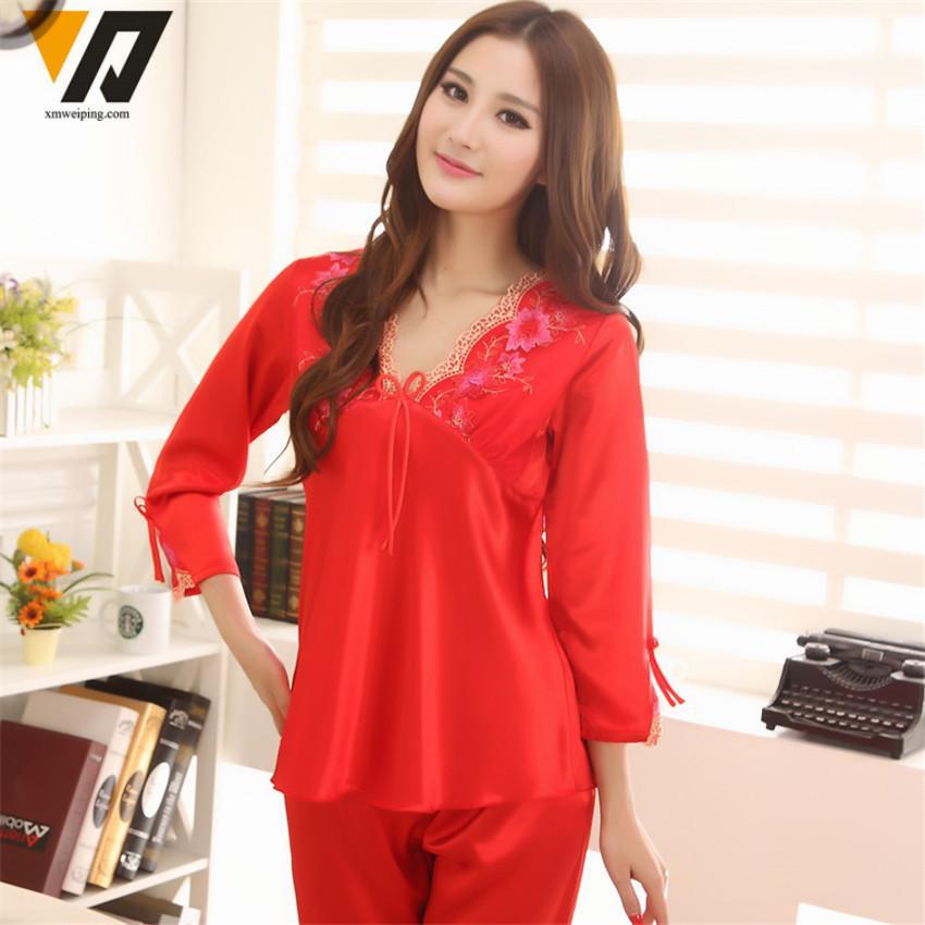 58505b2734 Wholesale- XMWEIPING Womens Silk Pyjamas Set Satin Pajamas Set ...