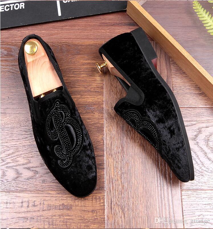 Yeni Stil Strass Erkekler Loafer'lar Siyah Süet Kaplan Rhinestones Terlik Parti Gelinlik Ayakkabı Püskül Erkek Flats Hakiki Leathe Z268
