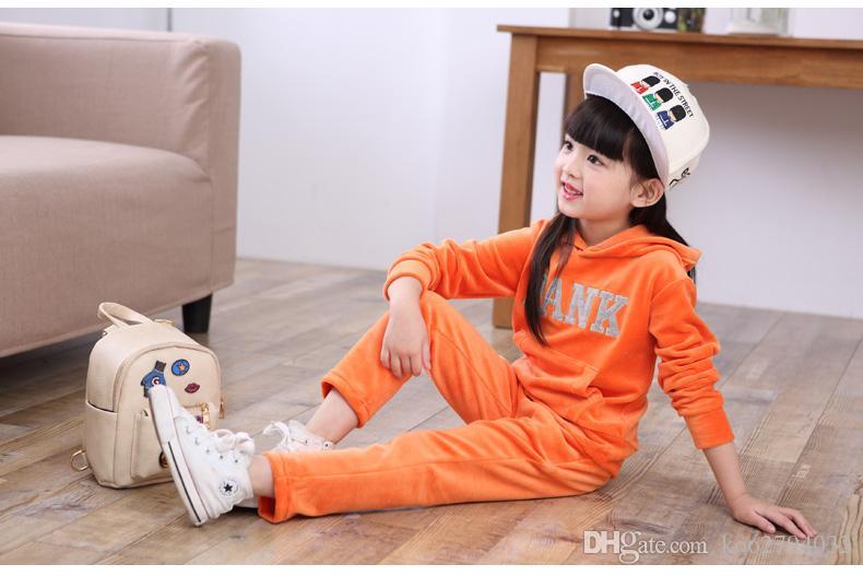 2016 Baby Girl мальчик Дети мультфильм спортивная одежда комплект Толстовка с капюшоном брюки брюки 2 шт. Спортивный костюм Baby Girl Весна Осень КостюмыКостюм
