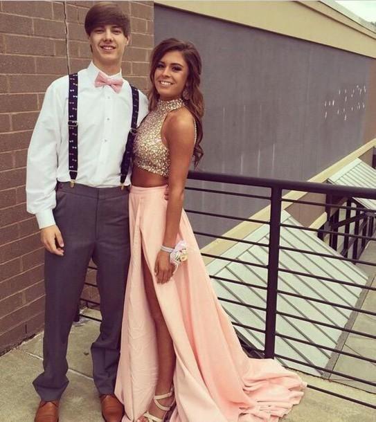 Modest Two Pieces Prom Dresses 2016 Imagen real con elegante Bling Bling lentejuelas Cuello alto Impresionante A Line High Side Slit Fitted Vestidos de fiesta