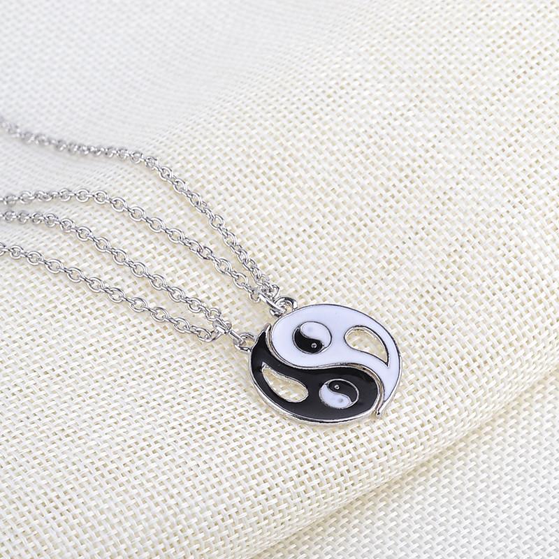 meilleurs amis collier BBF amitié Bijoux Couple yin yang ying yan collier pendentif noir blanc chaîne émail stetement colliers fatory