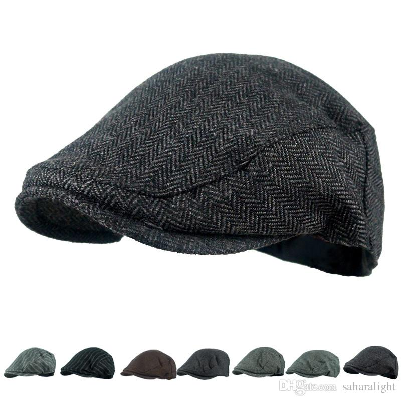 56009c7cf02ce 2018 Hot Sale Men s Hat Wool Stripe Berets Fashion Casual Autumn Driving  Flat Cabbie Newsboy Visor Sun Beret Cap For Male