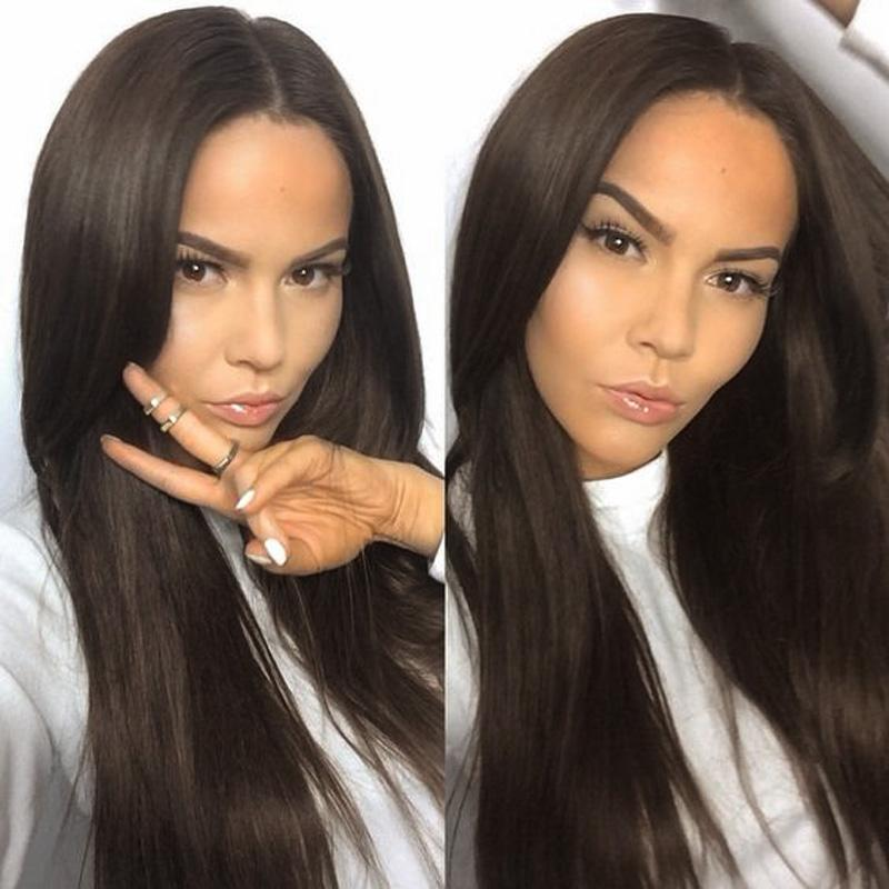 Peruvian Virgin Hair Straight Glueless Lace Front Wigs Human Hair Wigs for Black Women Medium Cap Middle Part Natural Color Bellahair