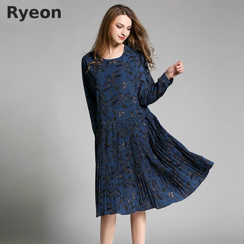 31b98cd54656 Wholesale- Ryeon Bohemian Blue Yellow Floral Pleated Women Dresses ...