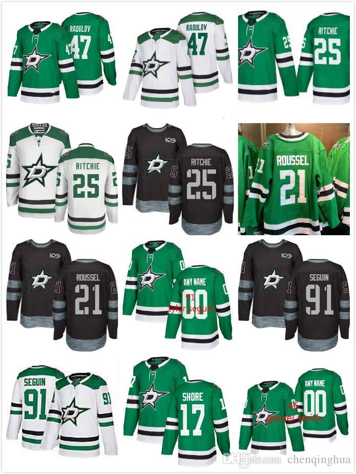 Men Dallas Stars  47 Alexander Radulov  25 Brett Ritchie  21 Antoine  Roussei  91 Tyler Seguin 17 Devin Shore 2017-2018 Stitched NHL Jersey  Alexander Radulov ... c0252a772