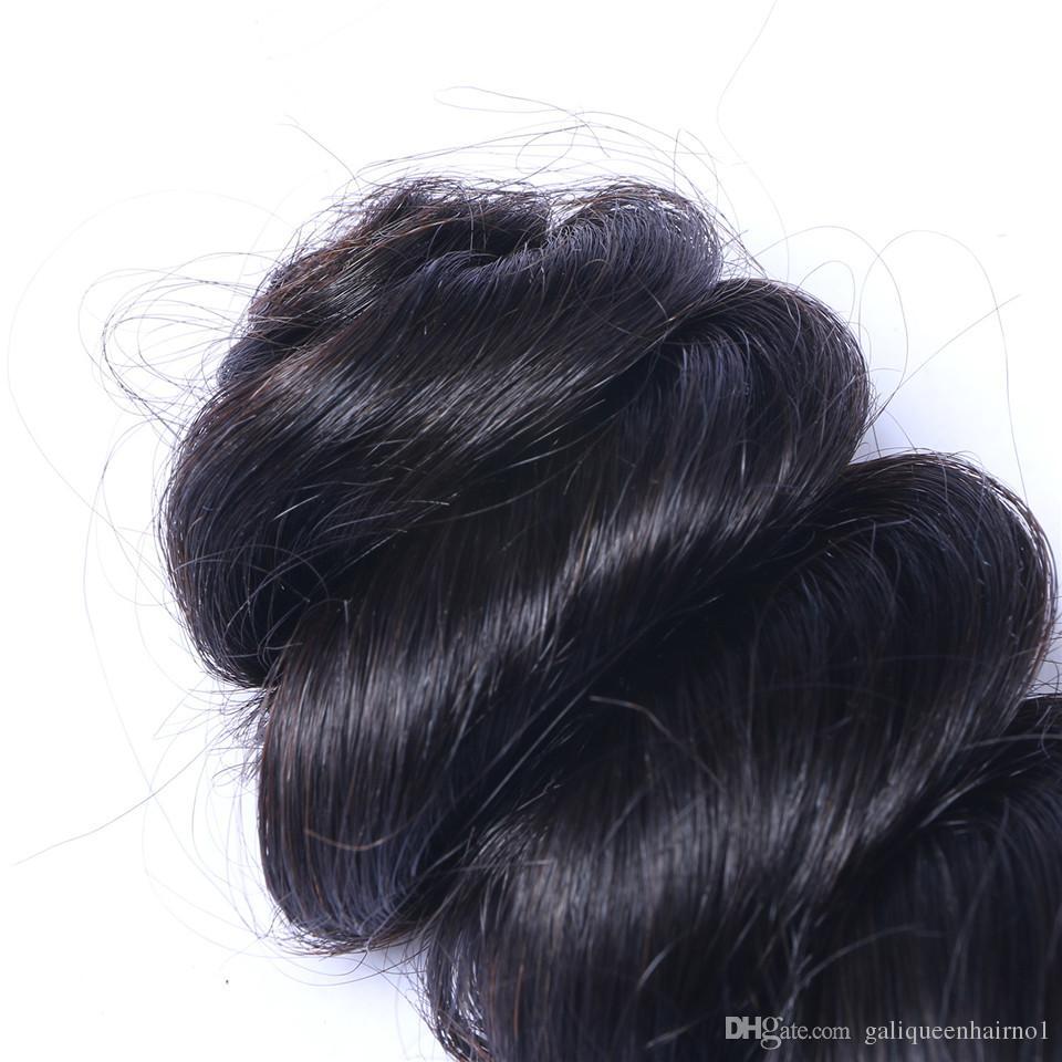 İşlenmemiş Brezilyalı İnsan Remy Bakire Saç Gevşek Dalga Saç Örgüleri Saç Uzantıları Doğal Renk 100g / Bundle Çift Atkı 3Bundles /