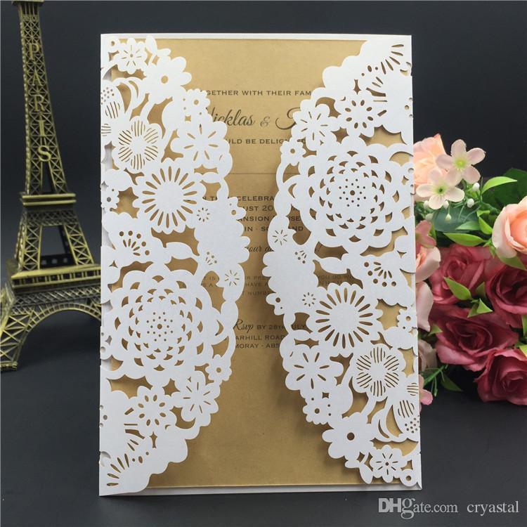2018 New Purple laser cut cartão de convite de casamento com envelope, em branco ou personalizado favores do casamento fornecimento de festa, frete Grátis
