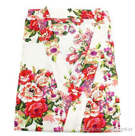 Kids Cotton Floral Kimono Robe Bathrobe Flower Children Nightgown For Spa Party Wedding Birthday