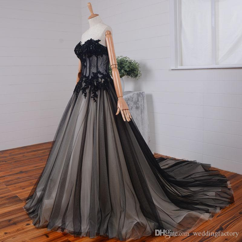 d1cecc1c11 Discount 2017 Gothic Wedding Dress Black And Champagne Wedding Dresses  Sheer Top Beaded Lace Appliques Corset Back Bridal Gowns Sweep Train  Designer Wedding ...