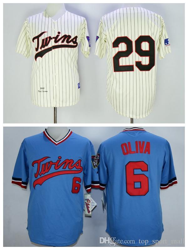f6e7162f 2017 Minnesota Twins 29 Rod Carew Jersey 1969 Cooperstown 6 Tony Oliva Baseball  Jerseys Throwback Cream ...