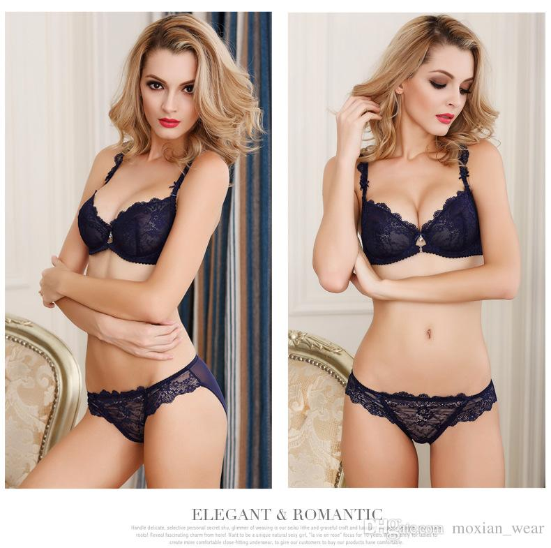 88bb0e2c312 2019 Ladies Sexy Bra Sets Thin Section Lace Transparent Large Size Without  Sponge Ultra Thin Metal Underwear Bra Set 3005 From Moxian wear