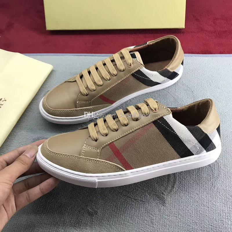 New Men Fashion Shoes Genuine Leather Low Top MenS Casual Leather Lattice  Canvas Stitching Lace Up Outdoor Sneakers Oxford Shoes Tennis Shoes From