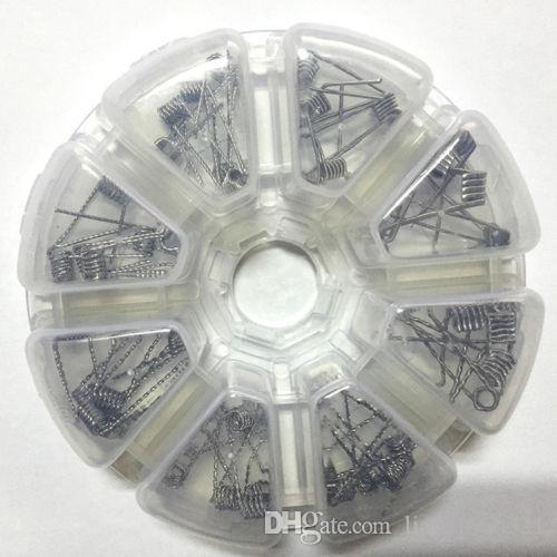 8 en 1 kit de bobinas bobinas de clapton bobina trenzada plana para RBA RDA Quad / giro de la cinta / Tank Track / Clapton / Hive HJ036