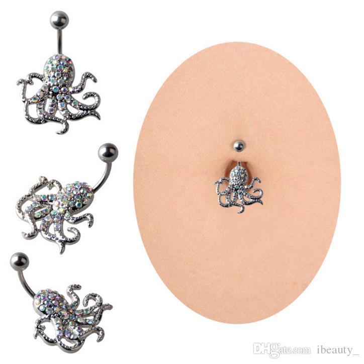 Nouveau mode nombril piercing octopus cloche bouton anneaux nombril corps ventre piercing bijoux de corps pour les femmes