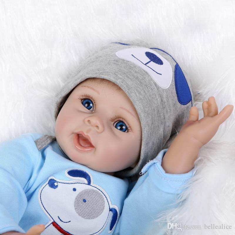 55cm 22inch Newborn Handmade Reborn Baby Doll Life like Soft Vinyl silicone Gentle Touch Cloth Body Toys Gifts + Magnetic pacifier