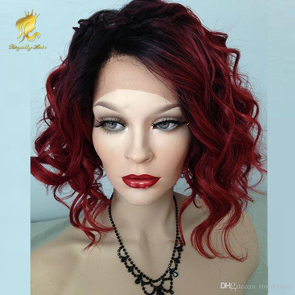 Bob Style Curly Ombre Bungundy Lace Front Wig Short Bob Glueless Lace Front Human Hair Wig Full Lace Wig For Black Women