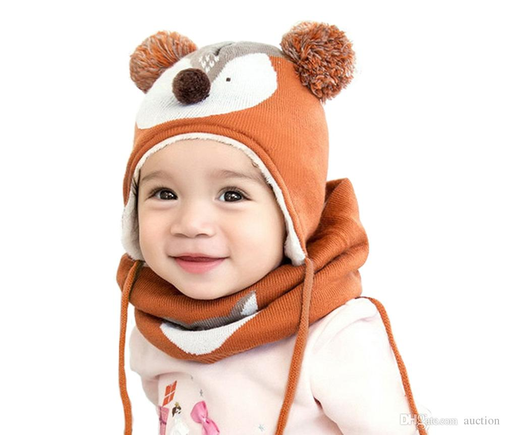 Unisex Baby Girls Boys Infant Toddle Kids Winter Hat Scarf Cute Ear Two Ball Earflap Hood Scarves Skull Caps